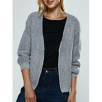 Heather Ribbed Knitted Cardigan