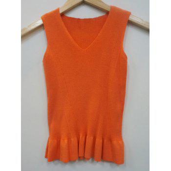 V Neck Knit Tank Top With Flounce