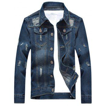 Turn-down Collar Long Sleeve Scratched Ripped Denim Jacket