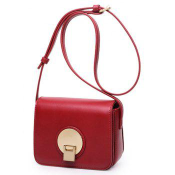 PU Leather Square Shape Metal Crossbody Bag - WINE RED