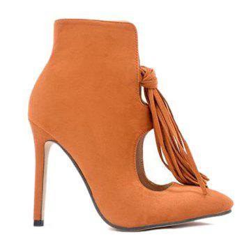 Hollow Out Stiletto Heel Tassels Ankle Boots