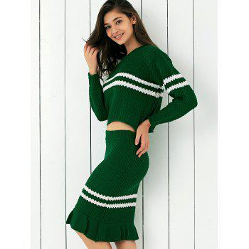 Contraste Couleur Ribbed Sweater + jupe sirène Twinset - Vert ONE SIZE