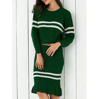 Contrast Color Ribbed Sweater + Mermaid Skirt Twinset