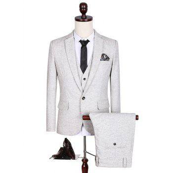 Plus Size Single Breasted Slimming Long Sleeve Lapel Three-Piece Suit ( Blazer + Waistcoat + Pants )
