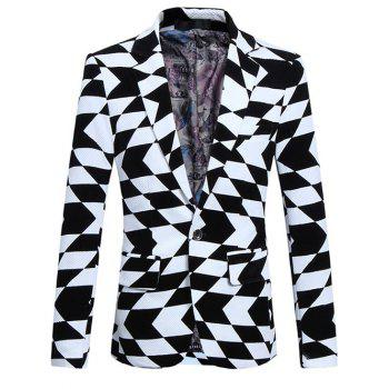 Plus Size Lapel Long Sleeve Irregular Geometric Print Blazer - WHITE AND BLACK XL