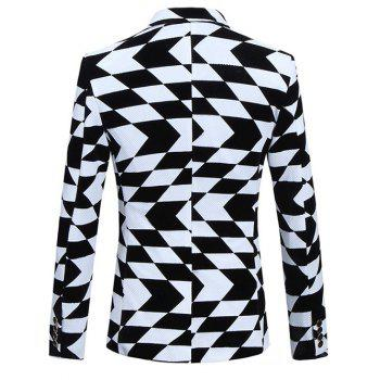 Plus Size Lapel Long Sleeve Irregular Geometric Print Blazer - WHITE/BLACK L