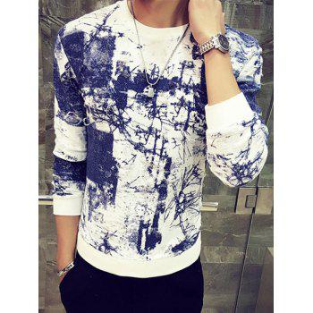 Round Neck Long Sleeve Abstract Painting Print Sweatshirt - BLUE M