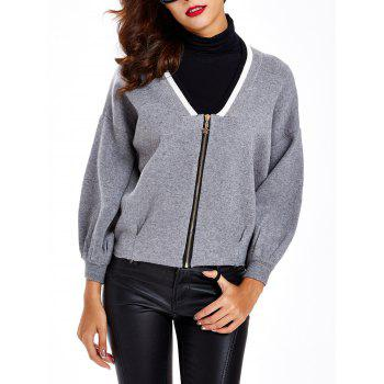 Puff Sleeves Shirred Zipper-Front Cardigan