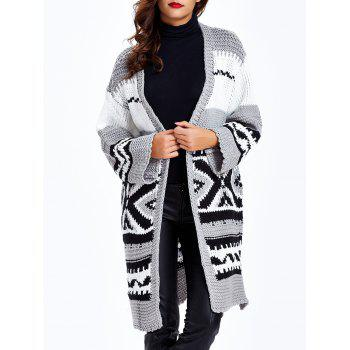 Loose-Fitting Tribal Jacquard Cardigan - Gris ONE SIZE