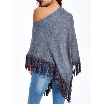 Skew Neck Fringed Cape - GRAY ONE SIZE