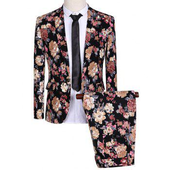 One Button Design Lapel Flowers Pattern Long Sleeve Suit (Blazer + Pants)