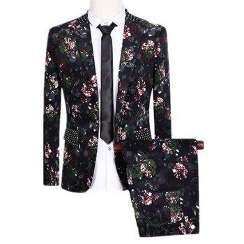 One Button Design Lapel Flowers and Polka Dot Pattern Long Sleeve Suit (Blazer + Pants)