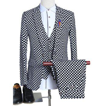 Plaid Lapel Single Breasted Long Sleeve Three-Piece Suit ( Blazer + Waistcoat + Pants )