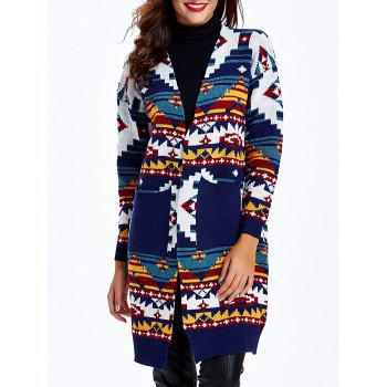 Ethnic Jacquard Double Pockets Long Cardigan