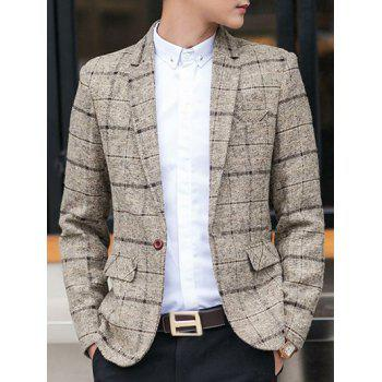 Lapel One-Button Checked Long Sleeve Blazer