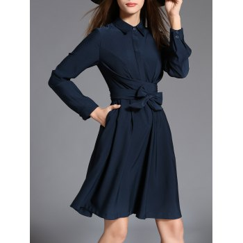 Long Sleeve Twist Shirt Dress