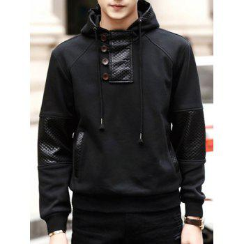PU-Leather Splicing Design Buttons Embellished Hooded Long Sleeve Hoodie