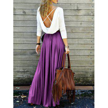 Back Plunging V Criss-Cross Spliced Maxi Dress