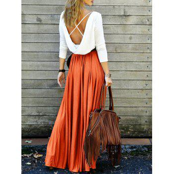 Spliced Back Plunging V Criss-Cross Maxi Dress