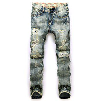 Zipper Fly Straight Leg Frayed Ripped Jeans