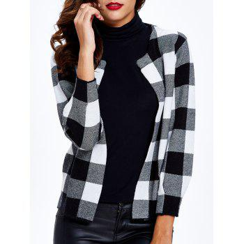 Plaid 3/4 Sleeves Short Cardigan