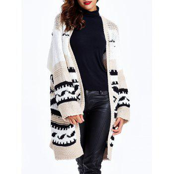 Loose-Fitting Tribal Jacquard Cardigan