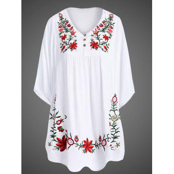 Elegant Women 1/2 Sleeve Plus Size Embroidered Dress