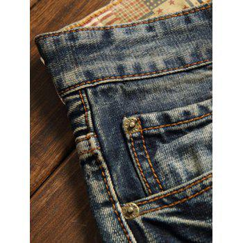 Five-Pocket Zipper Fly Straight Leg Frayed Ripped Jeans - 34 34