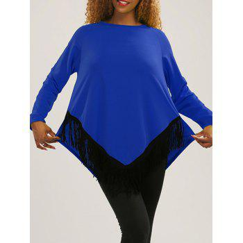 Asymmetric Tassel Long Sleeve Tee - BLUE XL
