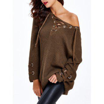 Loose-Fitting Criss-Cross Chandail Long - Chocolat ONE SIZE