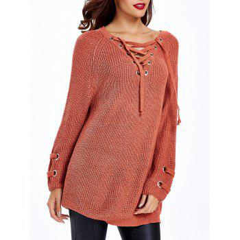 Loose-Fitting Criss-Cross Chandail Long - Rouge Marron ONE SIZE
