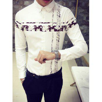 Flower Print Spliced Turn-Down Collar Long Sleeve Button-Down Shirt - COFFEE COFFEE