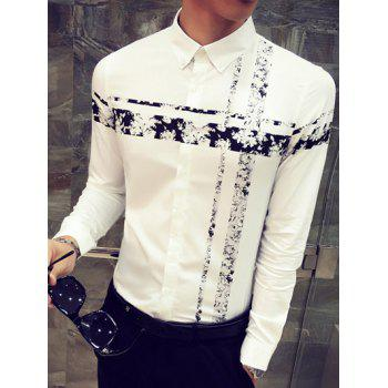 Flower Print Spliced Turn-Down Collar Long Sleeve Button-Down Shirt - BLACK 2XL