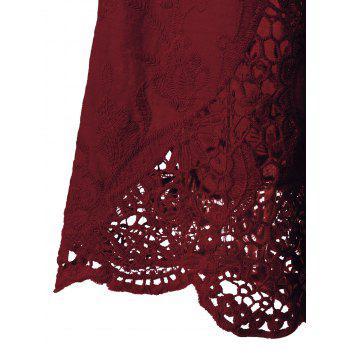 Lace Patchwork Peasant Top - WINE RED 2XL