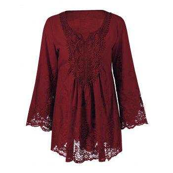 Lace Patchwork Peasant Top - Wine Red - 2xl