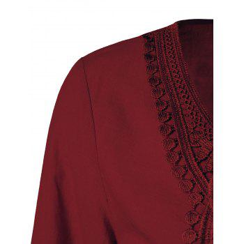 Lace Patchwork Peasant Top - WINE RED 5XL