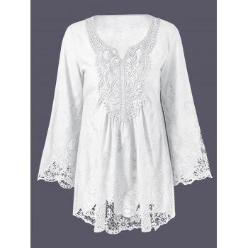 Plus Size Lace Patchwork Peasant Blouse