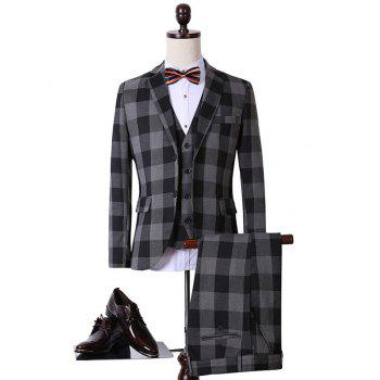 Plus Size Single Breasted Checked Long Sleeve Lapel Three-Piece Suit ( Blazer + Waistcoat + Pants )