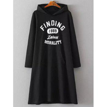 Plus Size Hooded Letter Print Pocketed Sweatshirt Dress