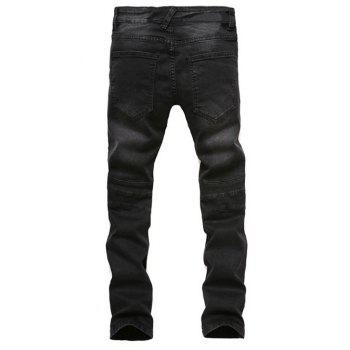 Cinq Pocket Spliced ​​Zipper Agrémentée Straight Leg Jeans - [