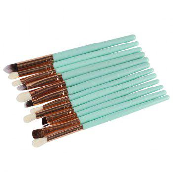 Professional 12 Pcs Goat Hair Eye Makeup Brush Set - GREEN