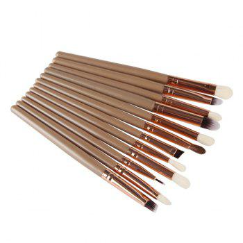 Professional 12 Pcs Goat Hair Eye Makeup Brush Set - BROWN