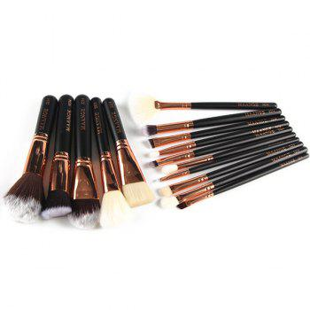 15 Pcs Nylon Face Lip Eye Makeup Brush Set - BLACK
