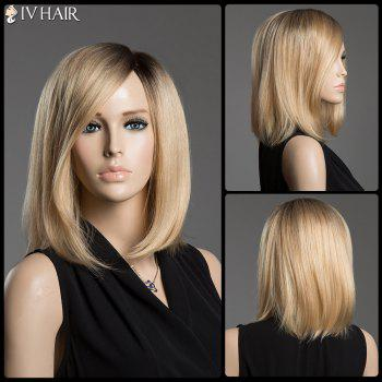 Sparkle Ombre Color Medium Side Parting Human Hair Capless Straight Siv Hair Wig