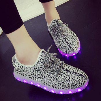 Lace-Up Color Block Lights Up Led Luminous Athletic Shoes - LIGHT GRAY 43