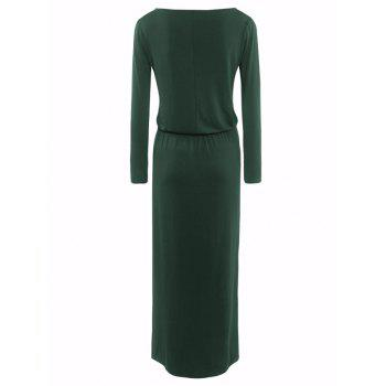 Maxi Boat Neck Elastic Waist Belted Dress - GREEN S