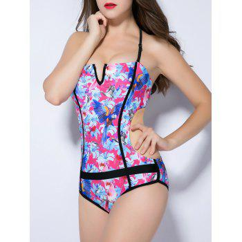 Halter Floral Print Backless Bird Pattern Swimwear - ROSE RED XS