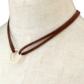 Faux Leather Circle Layered Necklace - BROWN