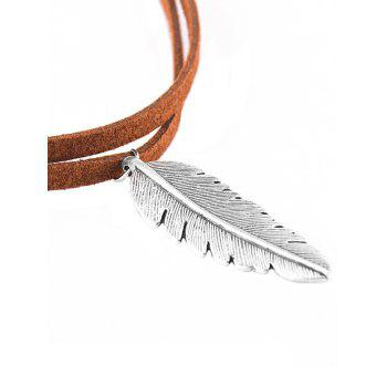 Faux Leather Alloy Feather Choker Necklace - BROWN