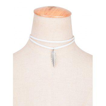 Faux Leather Alloy Feather Choker Necklace - WHITE